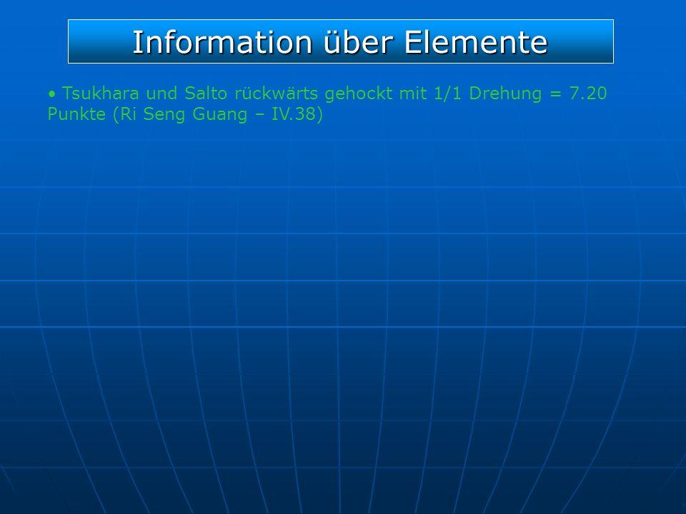 Information über Elemente Tsukhara und Salto rückwärts gehockt mit 1/1 Drehung = 7.20 Punkte (Ri Seng Guang – IV.38)