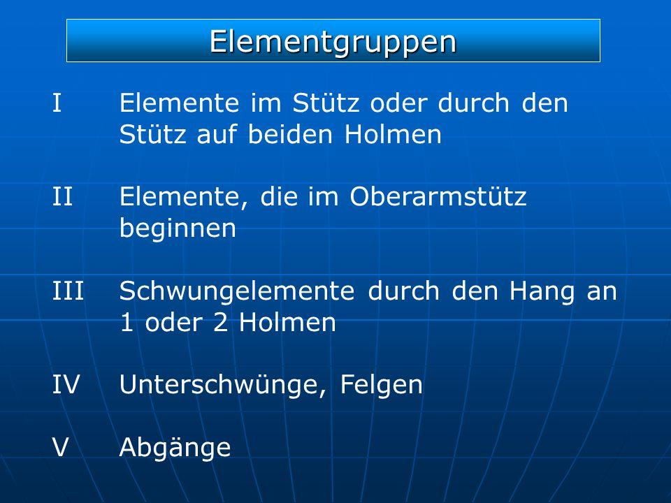 Elementgruppen I Elemente im Stütz oder durch den Stütz auf beiden Holmen IIElemente, die im Oberarmstütz beginnen IIISchwungelemente durch den Hang a