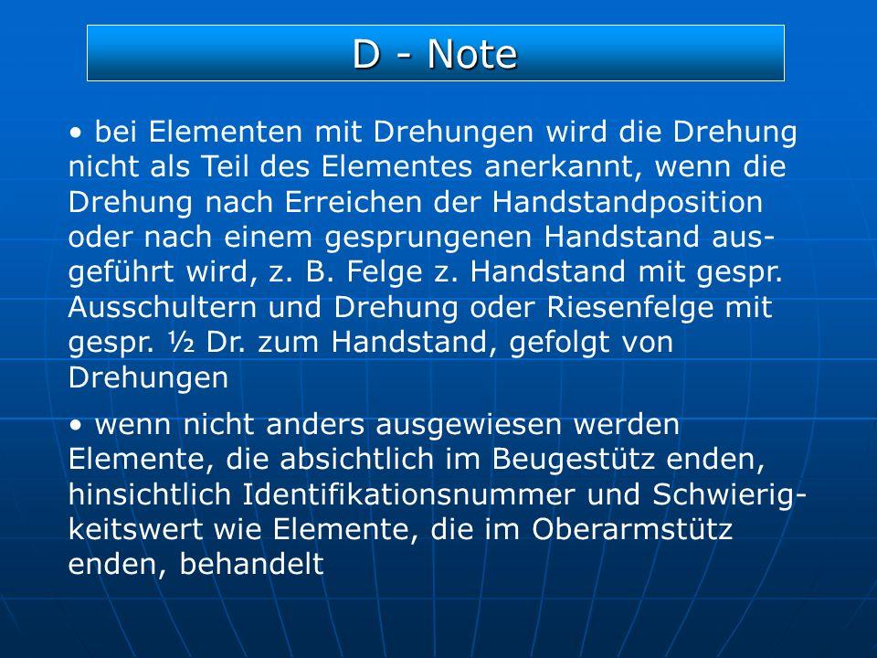 D - Note bei Elementen mit Drehungen wird die Drehung nicht als Teil des Elementes anerkannt, wenn die Drehung nach Erreichen der Handstandposition od