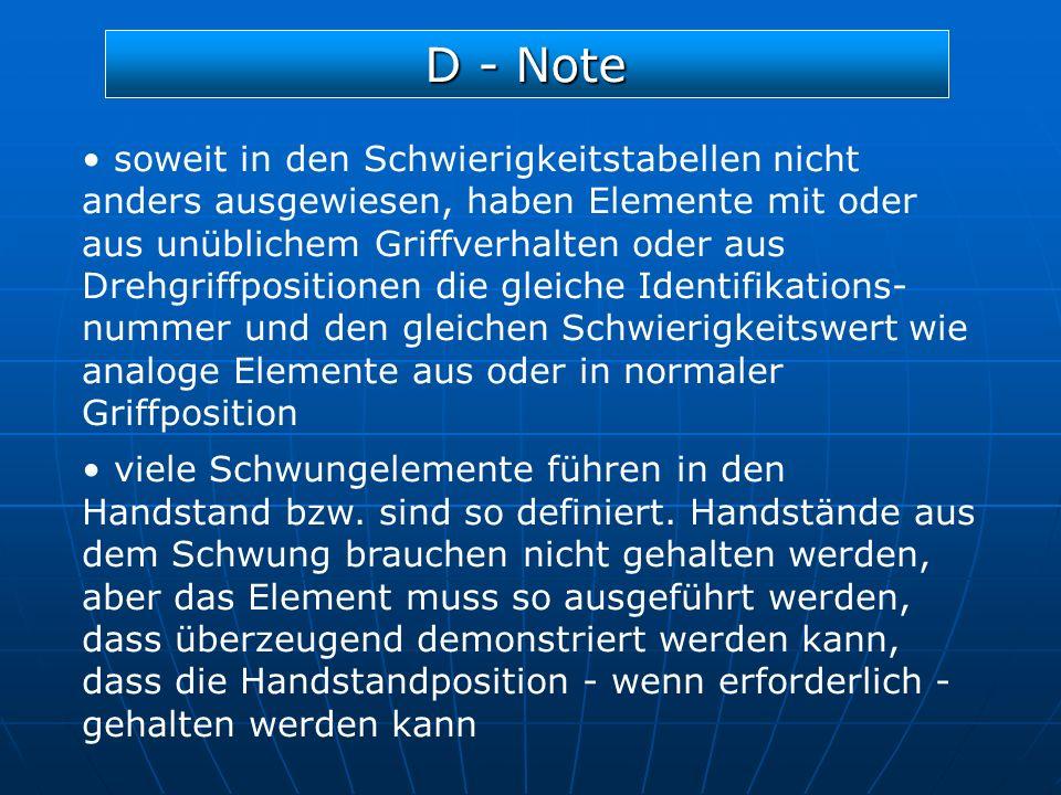 D - Note soweit in den Schwierigkeitstabellen nicht anders ausgewiesen, haben Elemente mit oder aus unüblichem Griffverhalten oder aus Drehgriffpositi