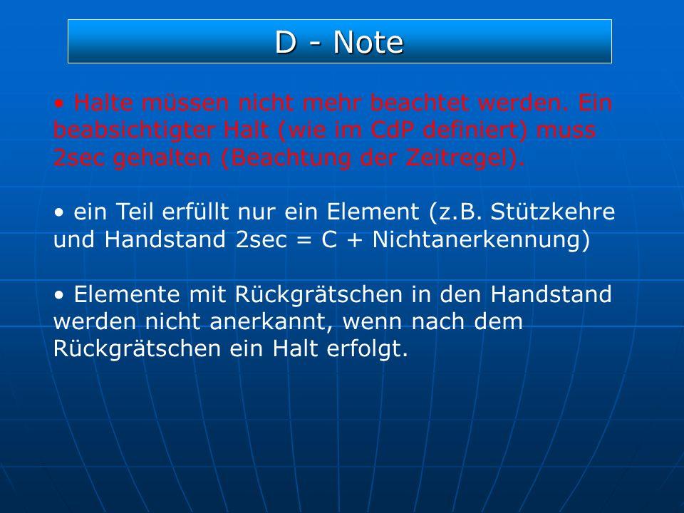 D - Note Halte müssen nicht mehr beachtet werden. Ein beabsichtigter Halt (wie im CdP definiert) muss 2sec gehalten (Beachtung der Zeitregel). ein Tei