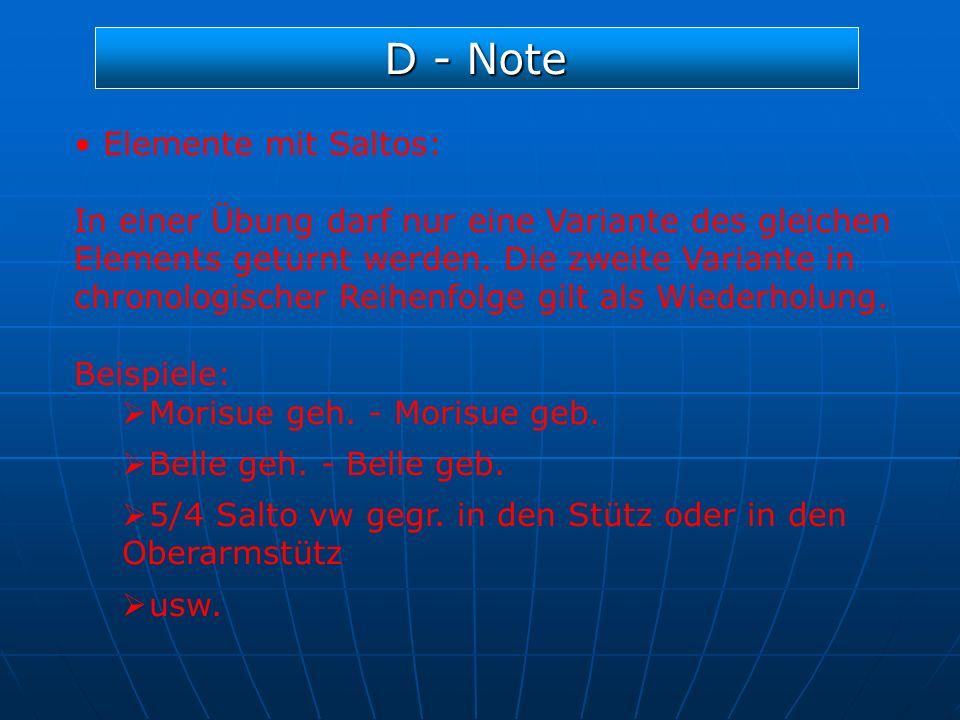 D - Note Elemente mit Saltos: In einer Übung darf nur eine Variante des gleichen Elements geturnt werden. Die zweite Variante in chronologischer Reihe