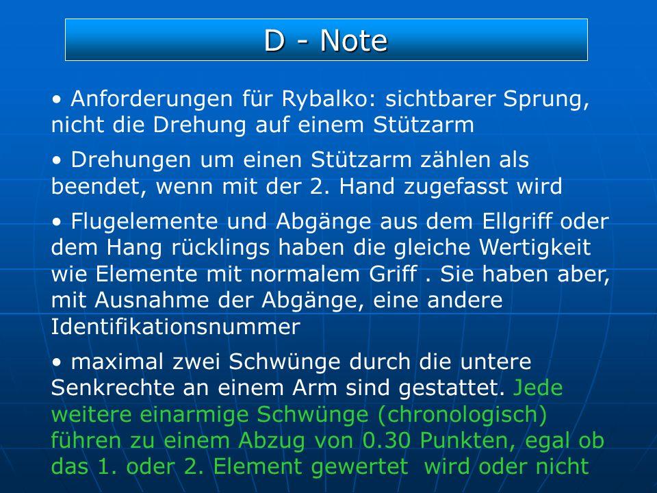 D - Note Anforderungen für Rybalko: sichtbarer Sprung, nicht die Drehung auf einem Stützarm Drehungen um einen Stützarm zählen als beendet, wenn mit d
