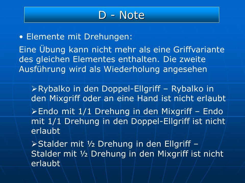D - Note Elemente mit Drehungen: Eine Übung kann nicht mehr als eine Griffvariante des gleichen Elementes enthalten. Die zweite Ausführung wird als Wi