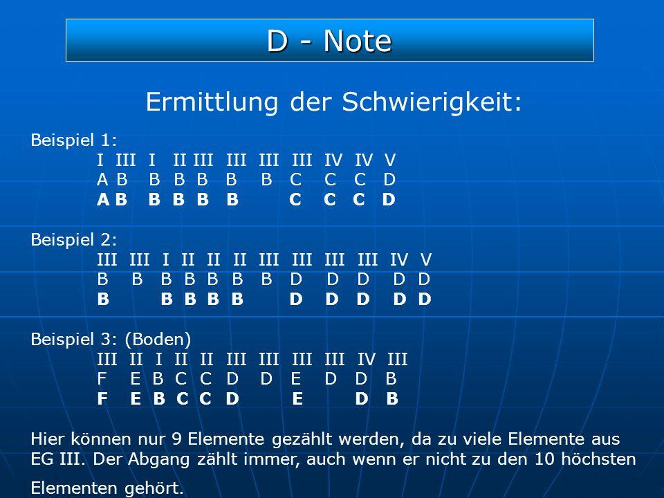 D - Note Ermittlung der Schwierigkeit: Beispiel 1: I III I II III III III III IV IV V A B B B B B B C C C D A B B B B B C C C D Beispiel 2: III III I