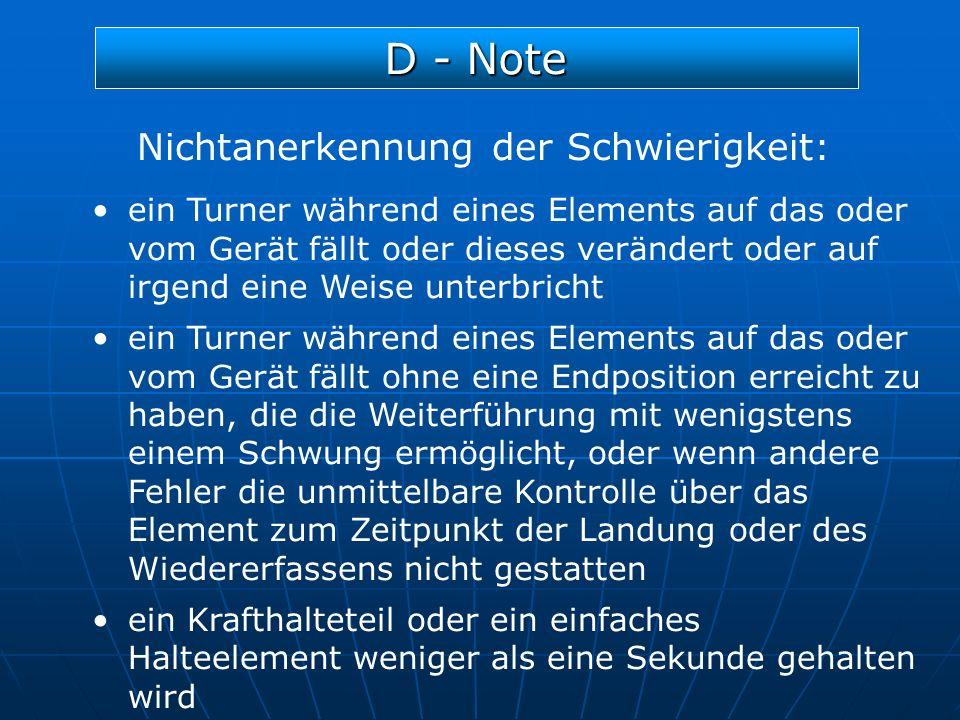 D - Note Nichtanerkennung der Schwierigkeit: ein Turner während eines Elements auf das oder vom Gerät fällt oder dieses verändert oder auf irgend eine