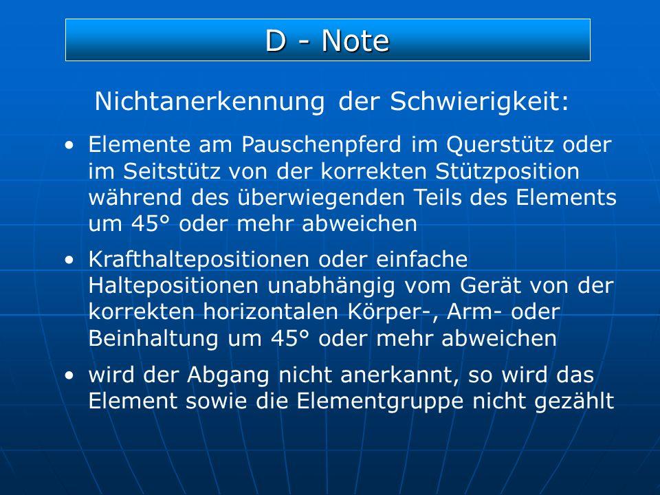 D - Note Nichtanerkennung der Schwierigkeit: Elemente am Pauschenpferd im Querstütz oder im Seitstütz von der korrekten Stützposition während des über