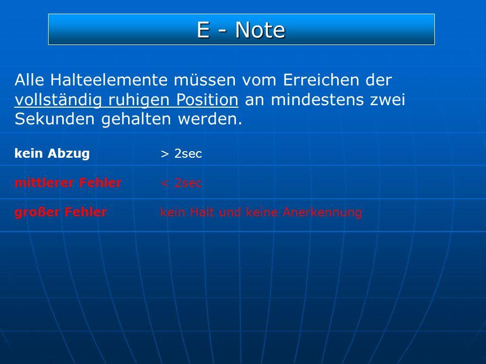 E - Note Alle Halteelemente müssen vom Erreichen der vollständig ruhigen Position an mindestens zwei Sekunden gehalten werden. kein Abzug> 2sec mittle