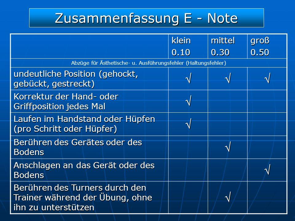 Zusammenfassung E - Note klein0.10mittel0.30groß0.50 Abzüge für Ästhetische- u. Ausführungsfehler (Haltungsfehler) undeutliche Position (gehockt, gebü