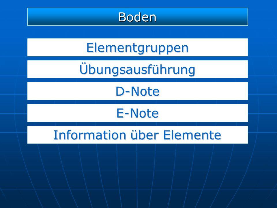 Elementgruppen D-Note E-Note Boden Übungsausführung Information über Elemente