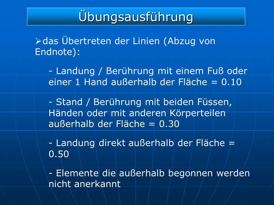 Übungsausführung das Übertreten der Linien (Abzug von Endnote): - Landung / Berührung mit einem Fuß oder einer 1 Hand außerhalb der Fläche = 0.10 - St