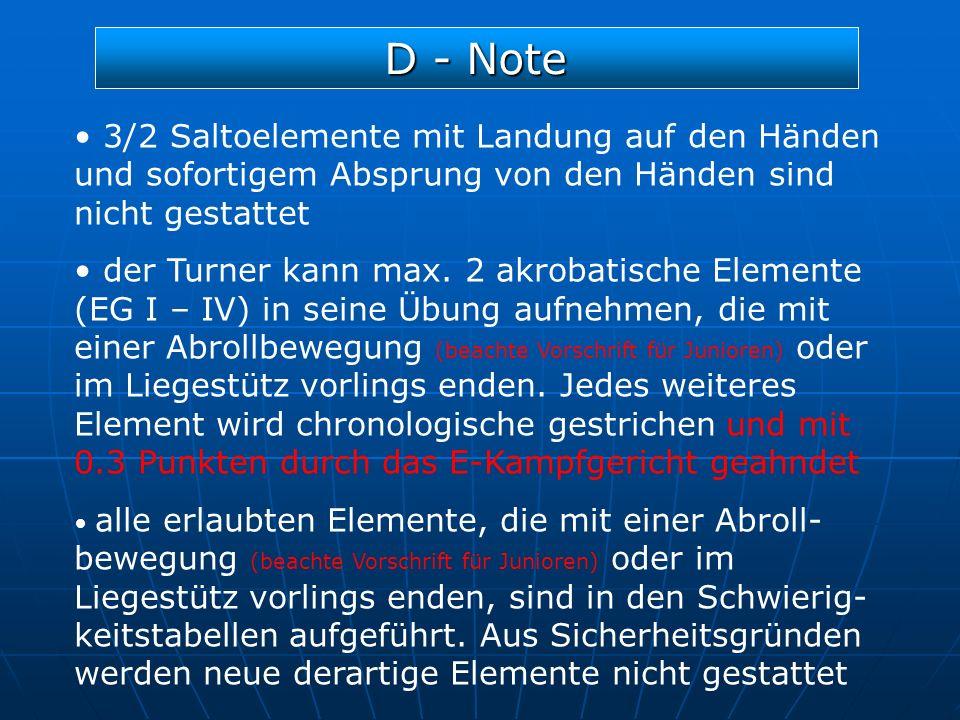 D - Note 3/2 Saltoelemente mit Landung auf den Händen und sofortigem Absprung von den Händen sind nicht gestattet der Turner kann max. 2 akrobatische