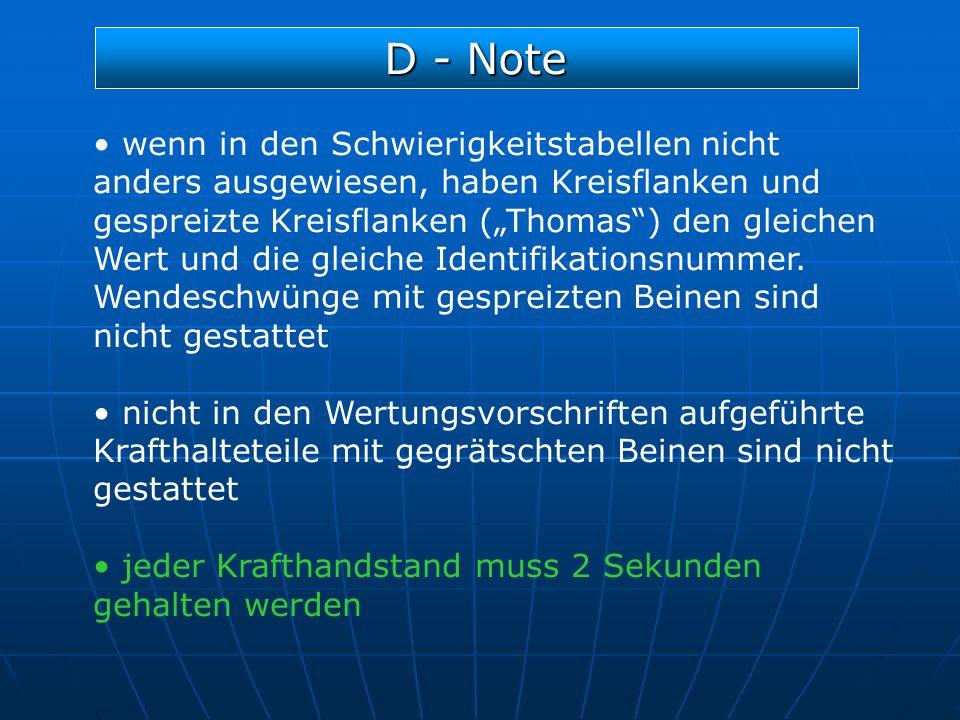 D - Note wenn in den Schwierigkeitstabellen nicht anders ausgewiesen, haben Kreisflanken und gespreizte Kreisflanken (Thomas) den gleichen Wert und di