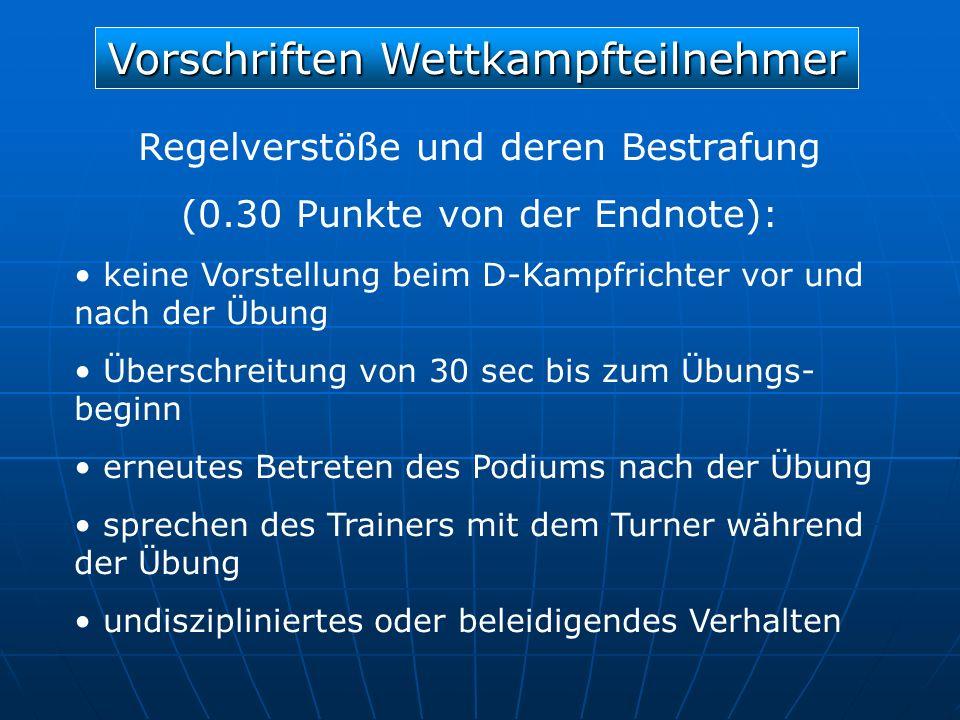 Vorschriften Wettkampfteilnehmer Regelverstöße und deren Bestrafung (0.30 Punkte von der Endnote): keine Vorstellung beim D-Kampfrichter vor und nach