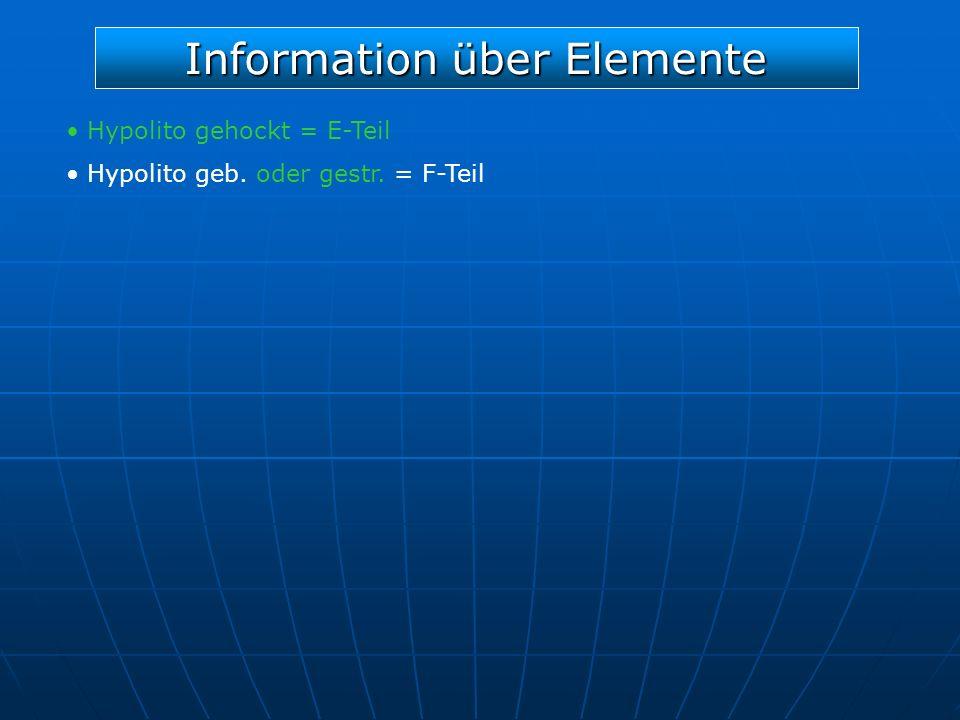 Information über Elemente Hypolito gehockt = E-Teil Hypolito geb. oder gestr. = F-Teil