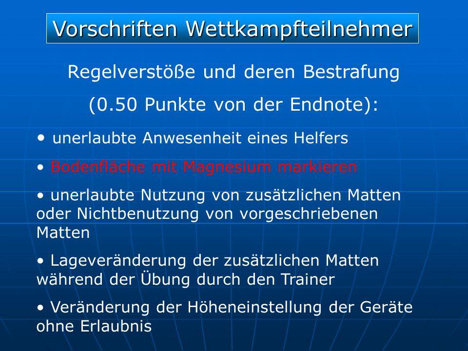 Vorschriften Wettkampfteilnehmer Regelverstöße und deren Bestrafung (0.50 Punkte von der Endnote): unerlaubte Anwesenheit eines Helfers Bodenfläche mi