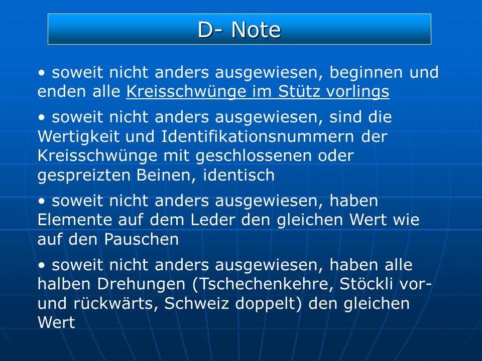 D- Note soweit nicht anders ausgewiesen, beginnen und enden alle Kreisschwünge im Stütz vorlings soweit nicht anders ausgewiesen, sind die Wertigkeit