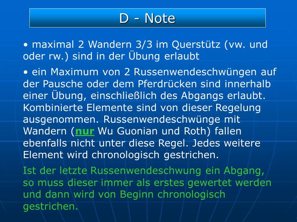 D - Note maximal 2 Wandern 3/3 im Querstütz (vw. und oder rw.) sind in der Übung erlaubt ein Maximum von 2 Russenwendeschwüngen auf der Pausche oder d