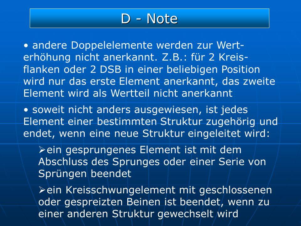 D - Note andere Doppelelemente werden zur Wert- erhöhung nicht anerkannt. Z.B.: für 2 Kreis- flanken oder 2 DSB in einer beliebigen Position wird nur