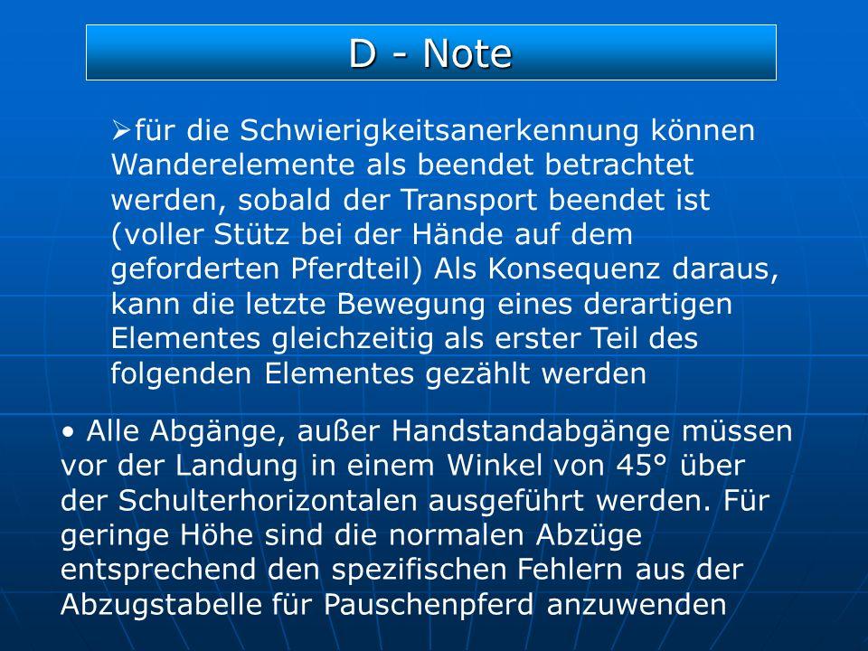 D - Note für die Schwierigkeitsanerkennung können Wanderelemente als beendet betrachtet werden, sobald der Transport beendet ist (voller Stütz bei der