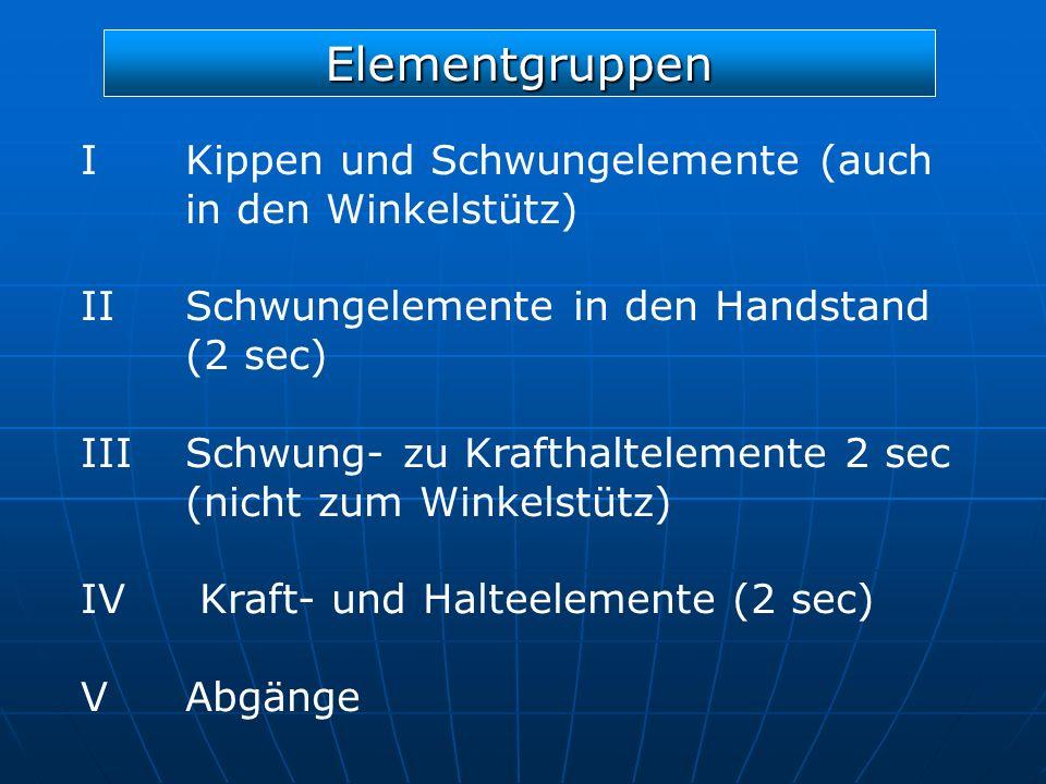 Elementgruppen I Kippen und Schwungelemente (auch in den Winkelstütz) IISchwungelemente in den Handstand (2 sec) IIISchwung- zu Krafthaltelemente 2 se
