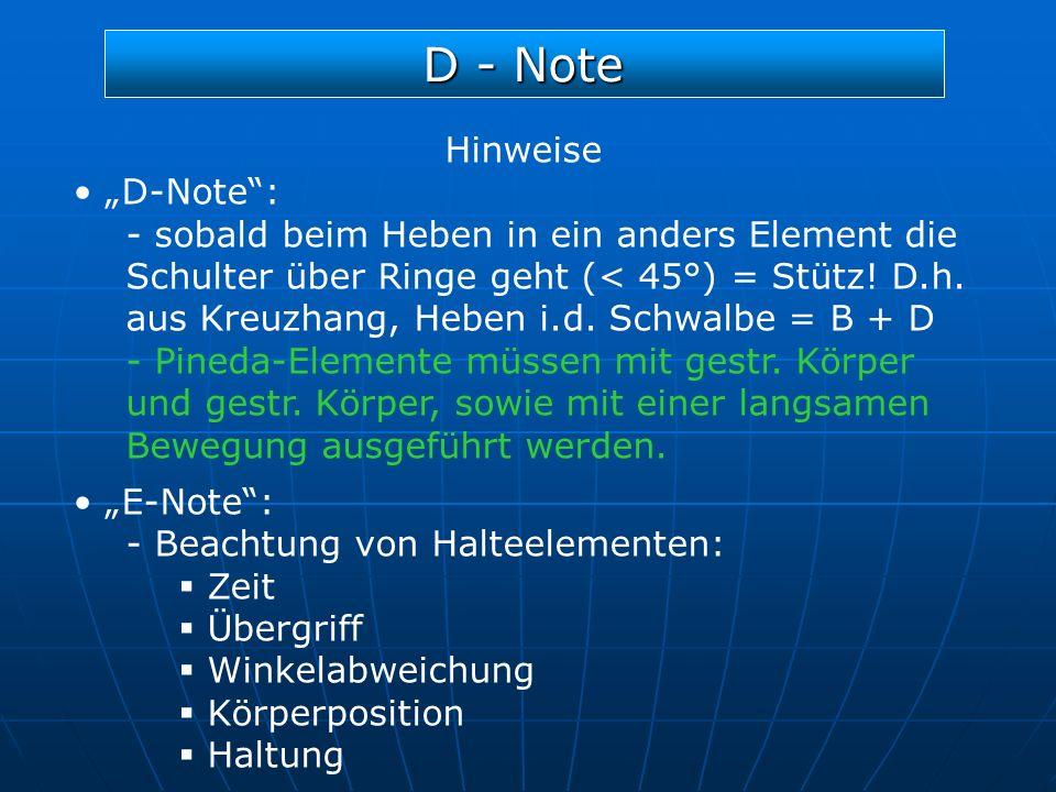 D - Note Hinweise D-Note: - sobald beim Heben in ein anders Element die Schulter über Ringe geht (< 45°) = Stütz! D.h. aus Kreuzhang, Heben i.d. Schwa