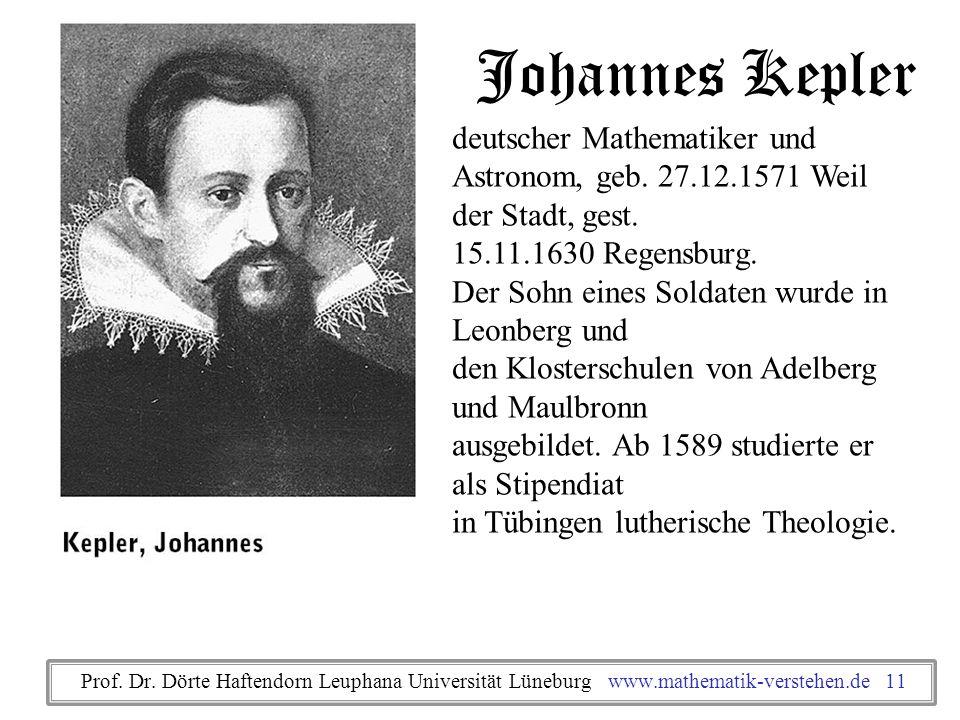 Johannes Kepler deutscher Mathematiker und Astronom, geb. 27.12.1571 Weil der Stadt, gest. 15.11.1630 Regensburg. Der Sohn eines Soldaten wurde in Leo