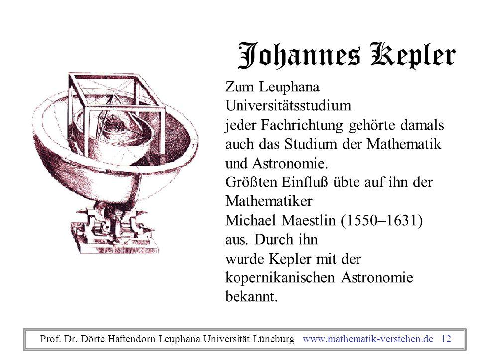 Johannes Kepler Zum Leuphana Universitätsstudium jeder Fachrichtung gehörte damals auch das Studium der Mathematik und Astronomie. Größten Einfluß übt