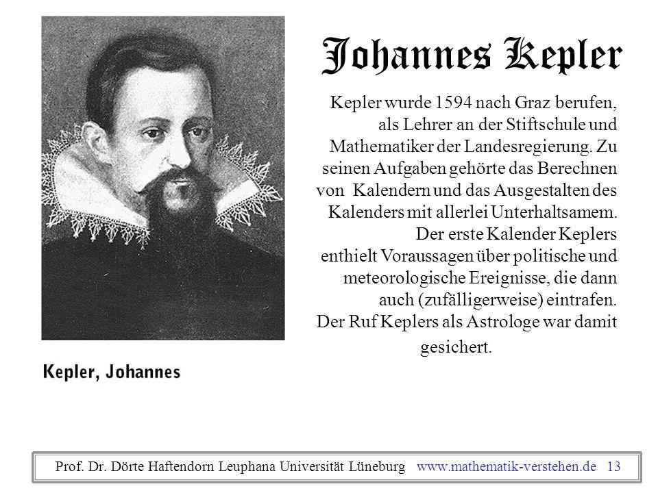 Johannes Kepler Kepler wurde 1594 nach Graz berufen, als Lehrer an der Stiftschule und Mathematiker der Landesregierung. Zu seinen Aufgaben gehörte da
