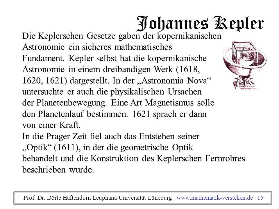 Johannes Kepler Die Keplerschen Gesetze gaben der kopernikanischen Astronomie ein sicheres mathematisches Fundament. Kepler selbst hat die kopernikani