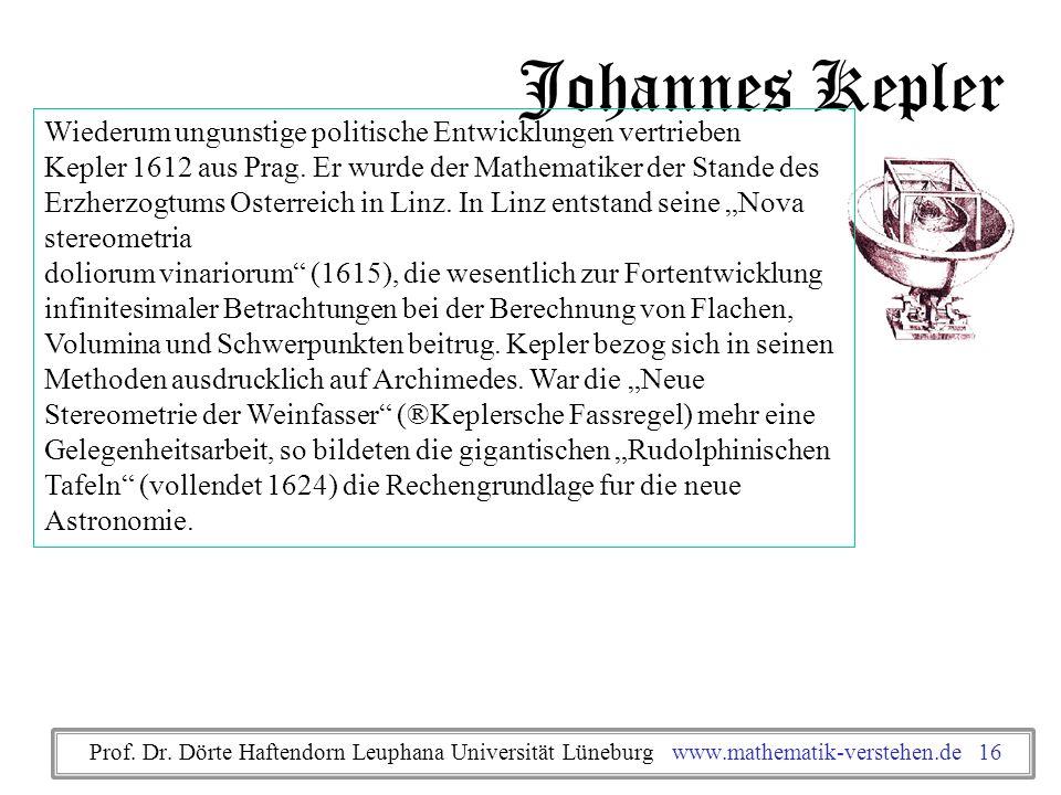Johannes Kepler Wiederum ungunstige politische Entwicklungen vertrieben Kepler 1612 aus Prag. Er wurde der Mathematiker der Stande des Erzherzogtums O