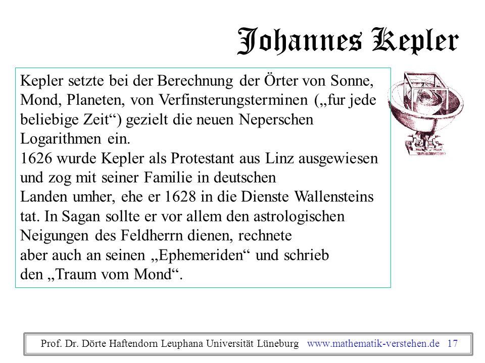 Johannes Kepler Kepler setzte bei der Berechnung der Örter von Sonne, Mond, Planeten, von Verfinsterungsterminen (fur jede beliebige Zeit) gezielt die
