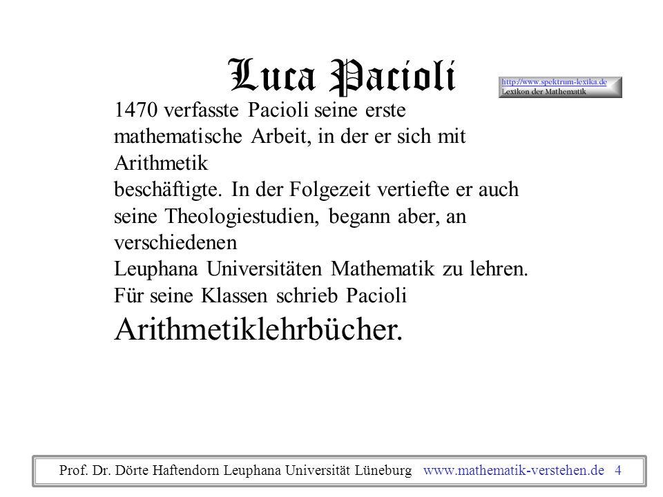 1494 veröffentlichte er Summa de arithmetica, geometria, proportioni et proportionalita, ein enzyklopädisches Werk, das theoretische und praktische Arithmetik, Elemente der Algebra, Geldeinheiten, Maße und Gewichte, die doppelte Buchführung und eine Zusammenfassung der Elemente des Euklid enthält.
