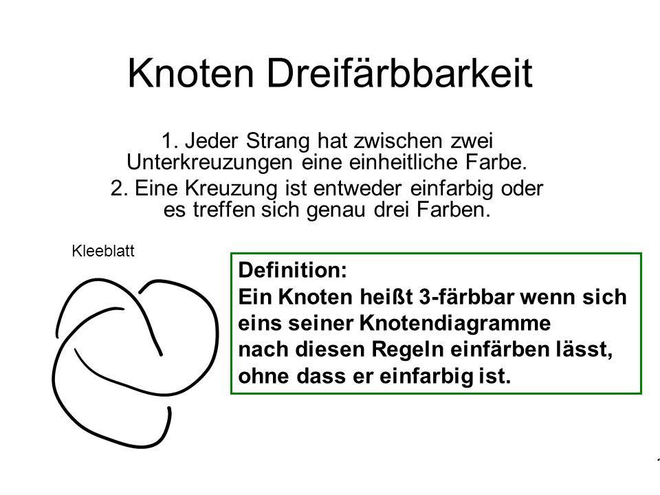 Knoten Dreifärbbarkeit 1.Jeder Strang hat zwischen zwei Unterkreuzungen eine einheitliche Farbe.
