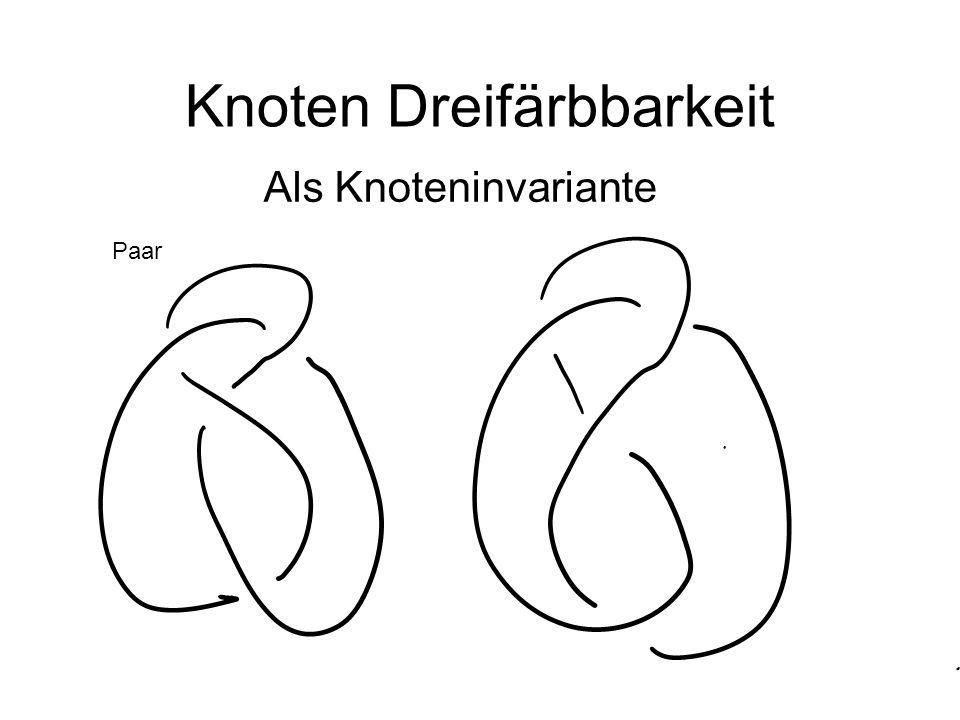 Primknoten Kleeblattknoten Ziffer8-Knoten Pentoid-Knoten Der andere 5-Knoten Drei 6-Primknoten, nur einer ist 3-färbbar.