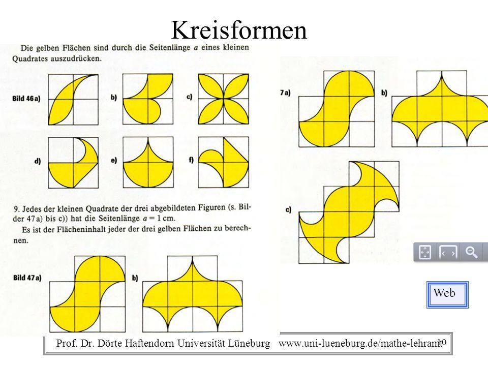 Prof. Dr. Dörte Haftendorn Universität Lüneburg www.uni-lueneburg.de/mathe-lehramt Kreisformen Web 10