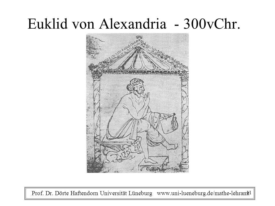 Prof. Dr. Dörte Haftendorn Universität Lüneburg www.uni-lueneburg.de/mathe-lehramt Euklid von Alexandria - 300vChr. 11