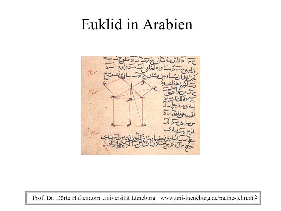 Prof. Dr. Dörte Haftendorn Universität Lüneburg www.uni-lueneburg.de/mathe-lehramt Euklid in Arabien 12