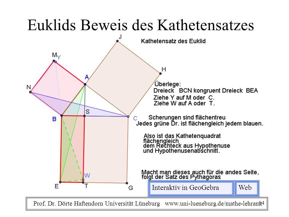Prof. Dr. Dörte Haftendorn Universität Lüneburg www.uni-lueneburg.de/mathe-lehramt Euklids Beweis des Kathetensatzes Interaktiv in GeoGebraWeb 14