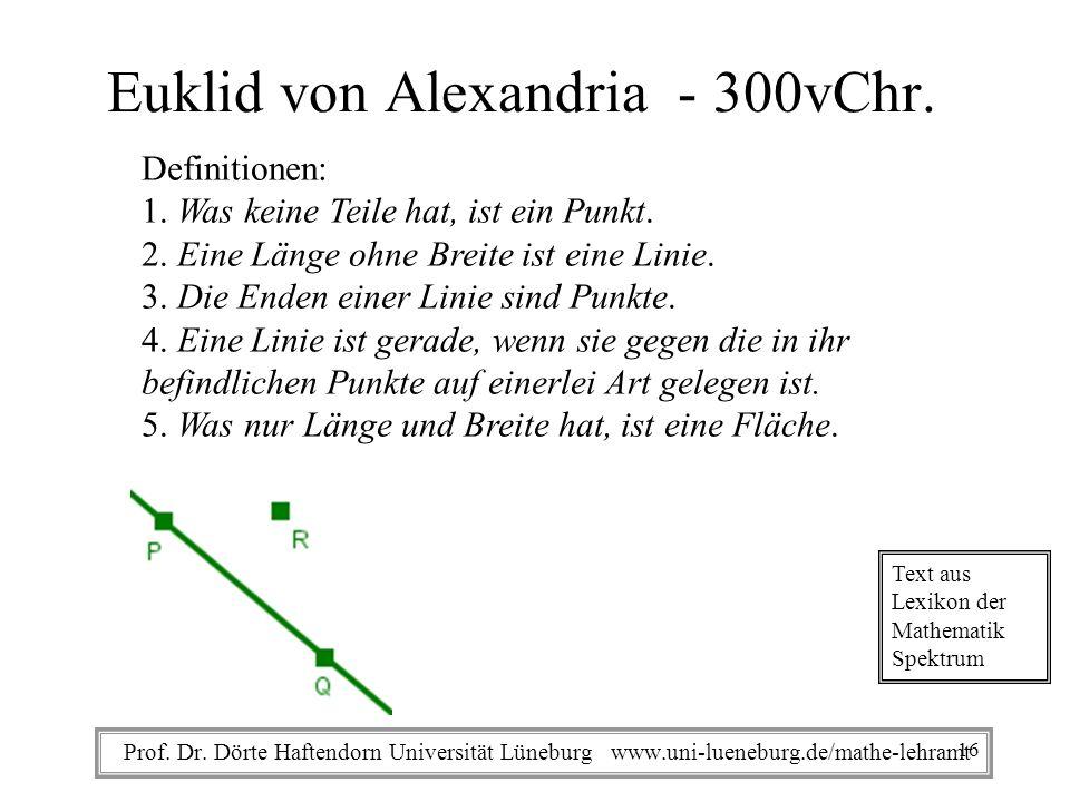 Prof. Dr. Dörte Haftendorn Universität Lüneburg www.uni-lueneburg.de/mathe-lehramt Euklid von Alexandria - 300vChr. Definitionen: 1. Was keine Teile h