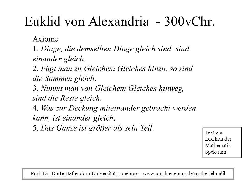 Euklid von Alexandria - 300vChr. Axiome: 1. Dinge, die demselben Dinge gleich sind, sind einander gleich. 2. Fügt man zu Gleichem Gleiches hinzu, so s