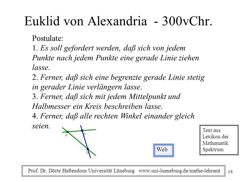 Prof. Dr. Dörte Haftendorn Universität Lüneburg www.uni-lueneburg.de/mathe-lehramt Euklid von Alexandria - 300vChr. Postulate: 1. Es soll gefordert we