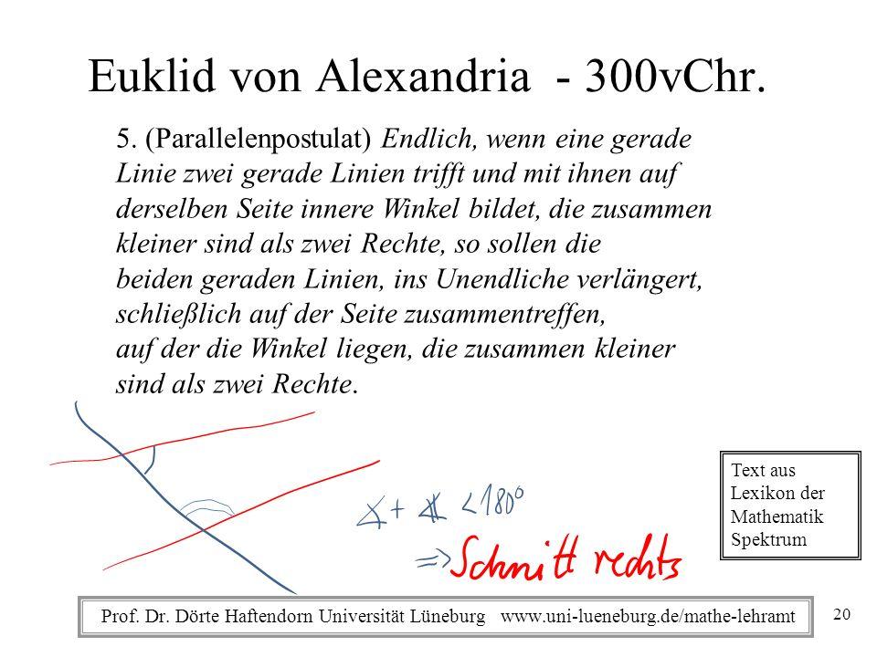 Prof. Dr. Dörte Haftendorn Universität Lüneburg www.uni-lueneburg.de/mathe-lehramt Euklid von Alexandria - 300vChr. 5. (Parallelenpostulat) Endlich, w