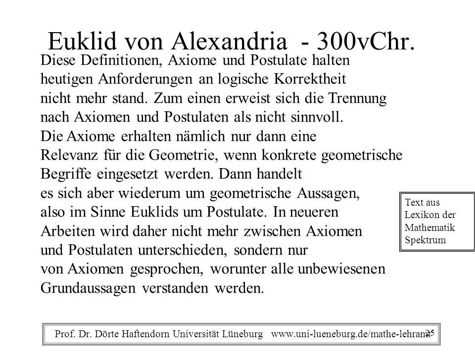 Prof. Dr. Dörte Haftendorn Universität Lüneburg www.uni-lueneburg.de/mathe-lehramt Euklid von Alexandria - 300vChr. Diese Definitionen, Axiome und Pos