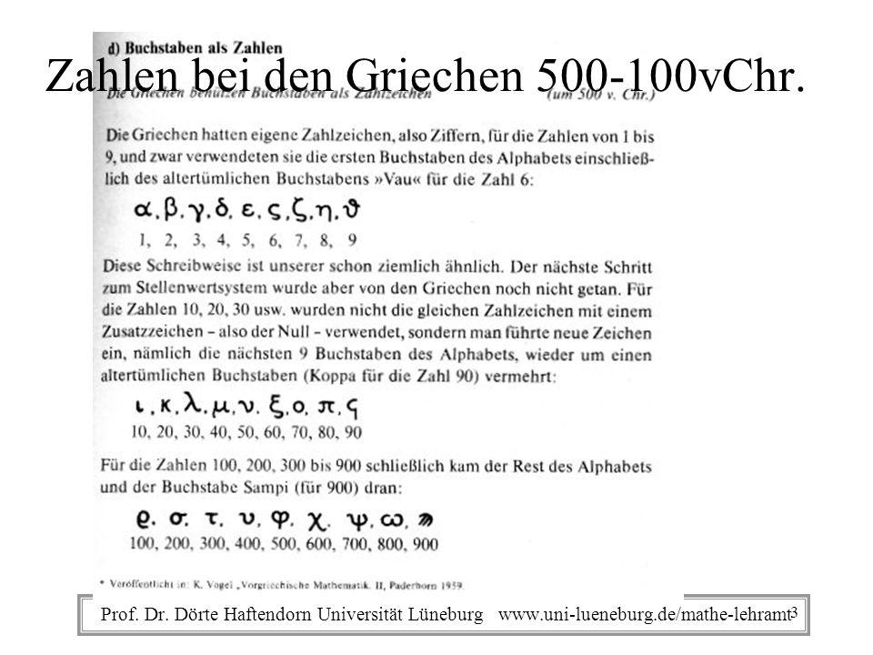 Prof. Dr. Dörte Haftendorn Universität Lüneburg www.uni-lueneburg.de/mathe-lehramt Zahlen bei den Griechen 500-100vChr. 3