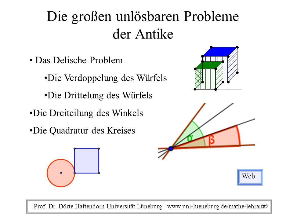 Prof. Dr. Dörte Haftendorn Universität Lüneburg www.uni-lueneburg.de/mathe-lehramt Die großen unlösbaren Probleme der Antike Web Das Delische Problem