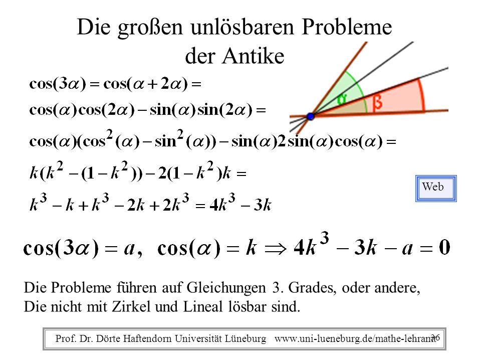 Prof. Dr. Dörte Haftendorn Universität Lüneburg www.uni-lueneburg.de/mathe-lehramt Die großen unlösbaren Probleme der Antike Web Die Probleme führen a
