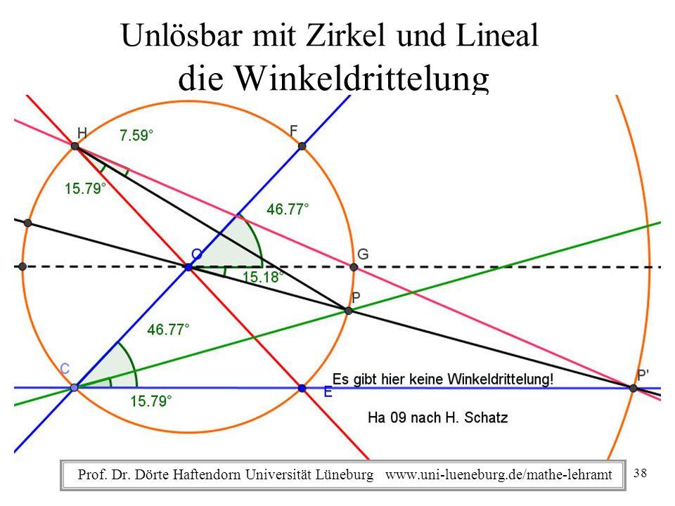 Prof. Dr. Dörte Haftendorn Universität Lüneburg www.uni-lueneburg.de/mathe-lehramt Unlösbar mit Zirkel und Lineal die Winkeldrittelung WebInteraktiv i