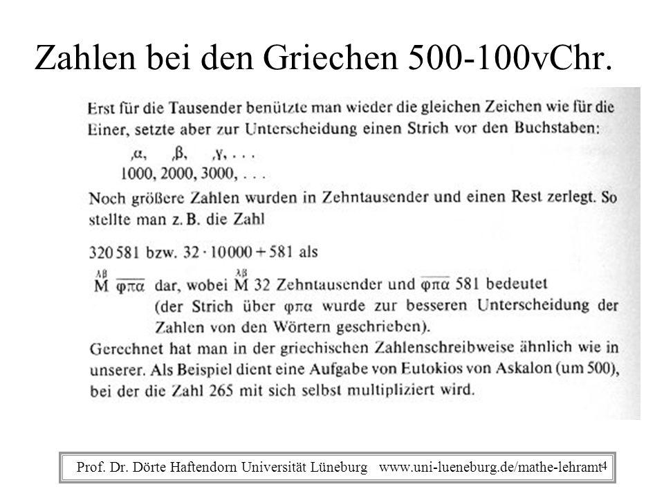 Prof. Dr. Dörte Haftendorn Universität Lüneburg www.uni-lueneburg.de/mathe-lehramt Zahlen bei den Griechen 500-100vChr. 4