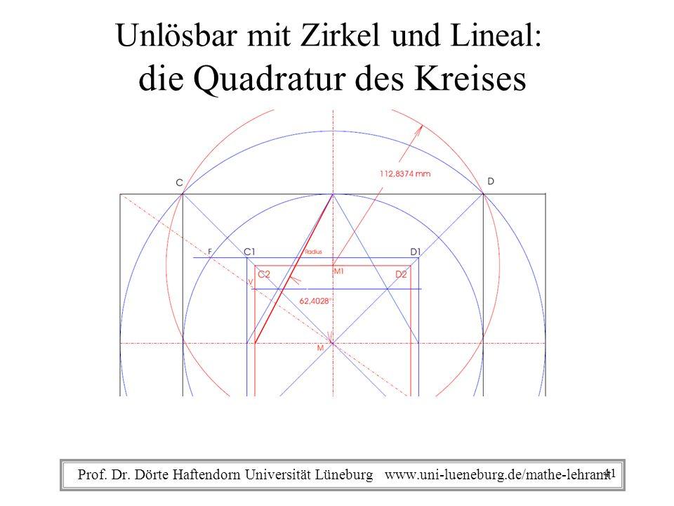 Prof. Dr. Dörte Haftendorn Universität Lüneburg www.uni-lueneburg.de/mathe-lehramt Unlösbar mit Zirkel und Lineal: die Quadratur des Kreises 41